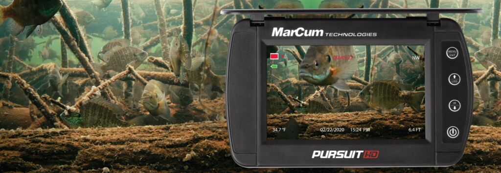 """If you're looking for the best pocket camera that money can buy, look no further.  MarCum's Pursuit Camera sets the new standard in mobility, while adhering to technological innovations our cameras have always led with.  A FULL HD Image Sensor (1920X1080p) offers industry leading display precision, packing a punch in a pocket-sized 5"""" LCD display.  All the on-screen display features including temperature, depth and direction are in play here, along with a FULL HD HDMI video out for projecting precision onto the wheelhouse's big screen. Want to record the excitement? The best underwater camera for 2021 comes with a built in DVR."""